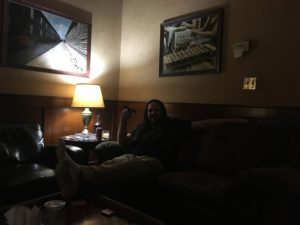 Ron (aka Jesus) at Cigar Shoppe, Montgomery, AL, with his feet up!