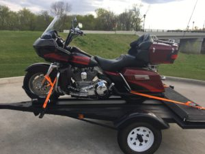 Pic of my 20000 Screamin Eagle Road Glide on my trailer