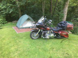 Pic of my bike in front of my tent at Gary's