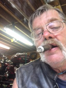 pic of me smoking in Harley's garage