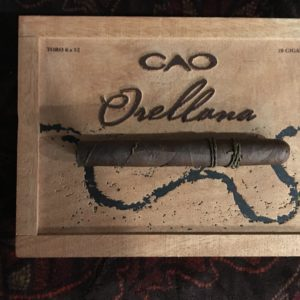 pic of CAO Orellana box with cigar on box