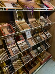 Inside the humidor at Tightwads Tobacco