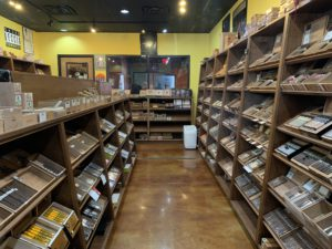 Another pic of shelves with cigars inside humidor at Cigar Pointe