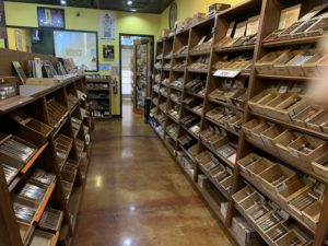 pic of racks of cigars in humidor at Cigar Pointe