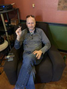 pic of Hans in the lounge at Cigar Pointe