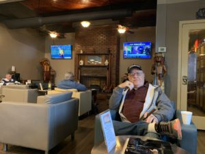 pic of the lounge over Bobs shoulder