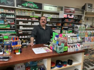pic of Frank, behind the counter