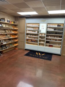 The Davidoff display in the humidor