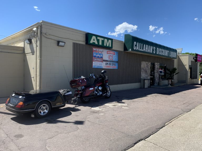 pic of my bike and trailer in front of Callahan's
