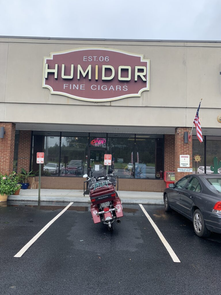 Pic of my bike outside Humidor Fine Cigars