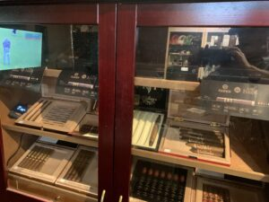 pic of the stand up humidor with high end cigars