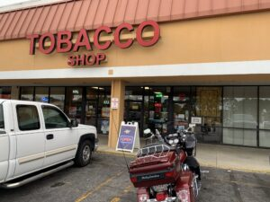 Pic of my bike outside the Tobacco Shop