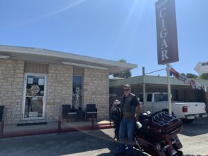 Pic of me and my old Road Glide outside Seguin Cigars