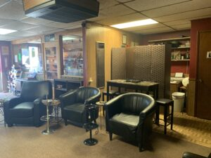 The front lounge at Seguin Cigars